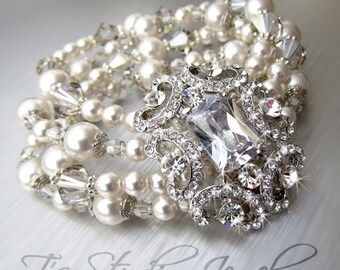 Pearl and Crystal Bridal Bracelet Multi Strand Wedding Cuff with Rhinestone Crystal Brooch - ASHLEY