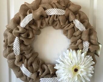 Big white flower handmade burlap wreath