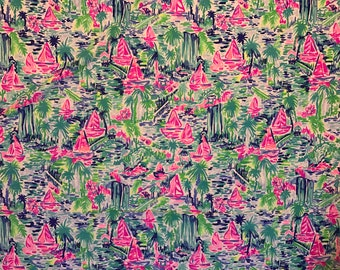 """18"""" x 18"""" or 1 YARD 36"""" X 55"""" or 3 YARDS 108"""" X 55"""" Lilly Pulitzer Dobby cotton fabric Multi Salt In The Air"""
