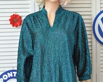 Vintage Womens Metallic Thread Blue & Black Shirt 70s 80s  shimmery Disco Funk Blouse Top/Theater Costume Old Pueblo Traders size 16 Large
