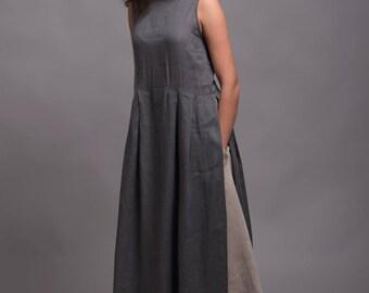 Long Gray Linen Tunic Dress *NERO*, Light Linen Summer Dress, Lagenlook clothes, 5 color options, Petit - Plus Size