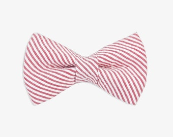 Seersucker Dog Bow Tie // red dog bow tie // striped dog bow tie // dog bow tie // dog bow // dog lover gift // gift for her // red striped