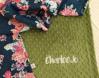 Floral Baby Blanket | Personalized Baby Blanket | Name Baby Blanket | Rose Baby Blanket | Floral Blanket