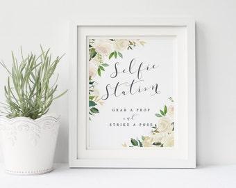 Wedding selfie station sign printable, Wedding prop selfie station sign, Garden white cream roses selfie station sign, The Asli collection