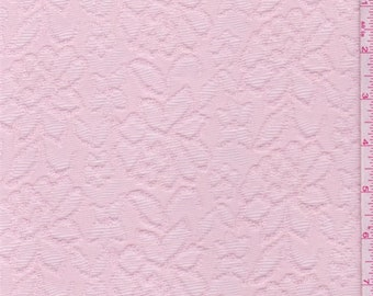 Creamy Pink Floral Jacquard Knit, Fabric By The Yard