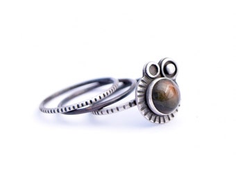 Silver Stacking Ring Set, Sterling Silver Rings, Labradorite Ring, Oxidized Silver, Ring Size 7.5, Space Jewelry, Metalsmith Jewelry
