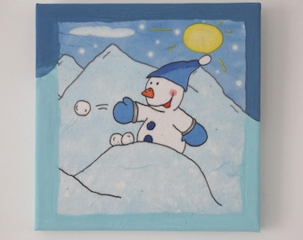 Modern Christmas themed painting - snow
