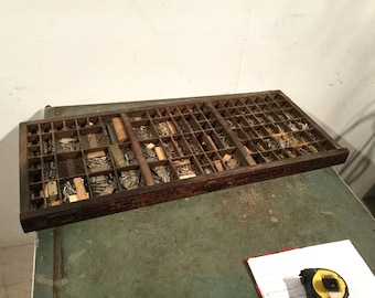 Storage tray for small items, vintage, previously for printing press letters