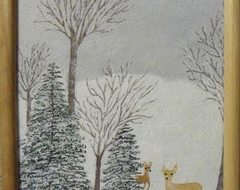 Original Winter Bunny Deer Painting Framed Signed 9 x 11