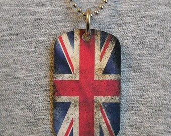 Metal Dog Tag Necklace BRITISH FLAG Union Jack United Kingdom UK royal country pendant charm 2-sided