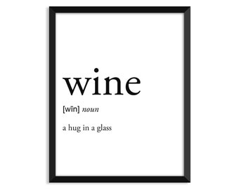 Wine definition, dictionary art print, college dorm decor, dictionary art, office decor, minimalist poster, funny definition