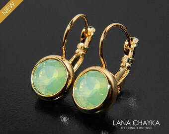 Green Opal Gold Earrings Swarovski Chrysolite Green Opal Leverback Earrings Mint Green Crystal Earrings Bridal Bridesmaids Green Jewelry