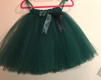 Flower girl tutu, hunter green  tutu, tutu skirt, Christmas wedding tutu, tulle skirt,  bridesmaid tutu, floor length tutu, ballet tutu, gre