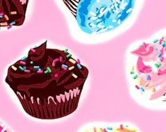 Pink Cupcakes Retro Cotton Fabric REMNANT