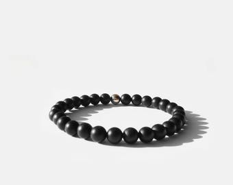 Matte Black Onyx Bead Bracelet 6mm