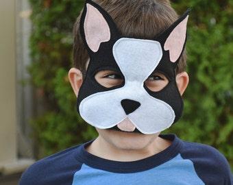 Handmade felt Boston Terrier mask, tail, mask/tail set