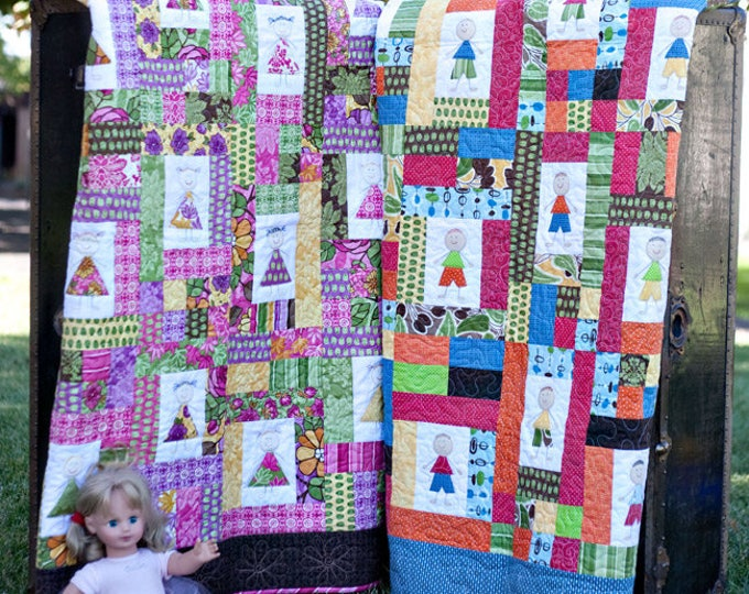 Snips and Snails meets Sugar and Spice a raw edge applique child's quilt pattern