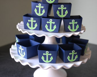 Anchor Candy Cups, Nautical Party Supplies, Nut Cups, Nautical Favors, Party, 12 Pcs, Navy, Lime Anchors