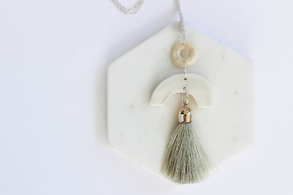 Cattle Bone & Tassel pendant