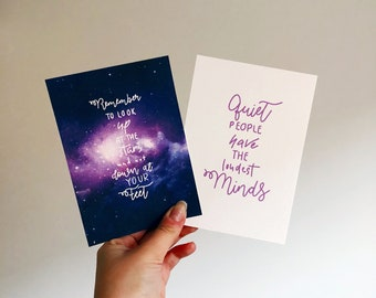 Stephen Hawking, Inspiring Quote,  Quote Print, Colourful Print, Famous Quote, Space Print, Stars Print, Quiet People, Postcard, Wall Art