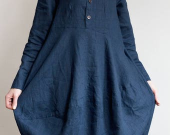 Balloon Type Linen Tunic Dress with Long Sleeves and Collar