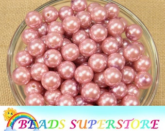 12 mm Dusty Rose Pearl Chunky Bubblegum Round Bead - Gumball Bead - Acrylic Chunky Bead - 20 pcs (12CHP22)