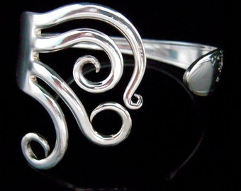 Antique Silverware Jewelry Silver Fork Bracelet in Original Curly Design Number Five