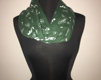 Repurposed/Up-cycled New York Jets Infinity Scarf