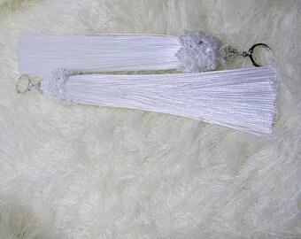White Tassel Earrings Jewelry Satin/Silk Earrings Boho Dangle Earrings Tassel Light  Earrings  Wedding  Earrings Bridal  Long  Earrings