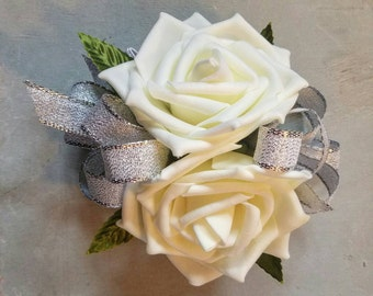 Double ivory rose and silver ribbon corsage, wedding corsage, ivory wedding corsage, affordable wedding corsage, silver wedding corsage