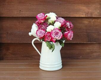 White Enamelware Coffee Pot,  Vintage White Enamel Kettle, Coffee Kettle, White Enamel Vase,
