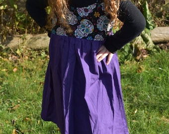 Day of the Dead and Purple Halloween Dress size 5, Sugar Skull Cotton Jumper for a Girl