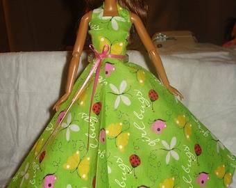 Pretty green Summer formal for Fashion Dolls - ed363
