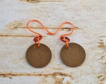 Earrings Coin Vintage Wheat Penny Earrings Recycled Jewelry