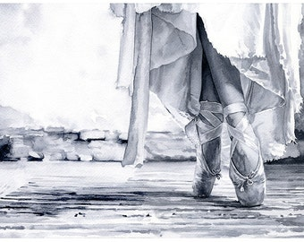"Signed ""Pointe"" Giclée Art Print by Vanessa Walsh, ballet Art, Black and White watercolour print"