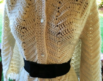 Vintage Button Down Shawl XS S Poncho Ivory CHEVRON Arm Slits