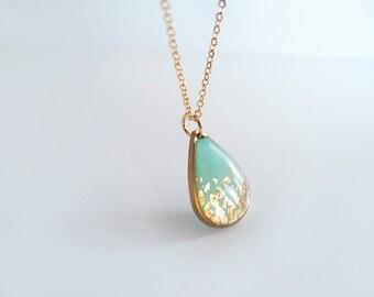 Blue Gold Drop Necklace - Bridesmaide Gift - Adjustable Necklace