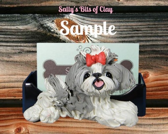 grey and white  blue Shih Tzu  Business Card /Cell Phone / Post It Note Holder OOAK Sculpture by Sally's Bits of Clay