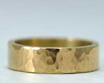 Mens Gold Wedding Band Hammered 14K Gold 5mm Flat Mens Wedding Ring Rustic Wedding Bands for Men