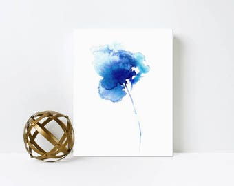 Abstract Blue Flower Watercolor Art Print on Canvas  Gift For Her - Iris 4