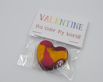 You Color My World Valentine - Kid's Valentine - Recycled Crayons - Kids Cards - Premade Valentines - Valentine Cards - Crayons - Coloring