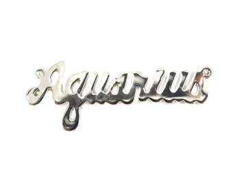 Rhodium Plated Astrological Name Plate Pendants - Aquarius - (2X) (A610-B)