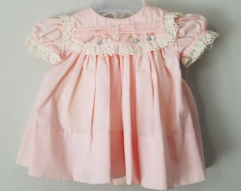 Vintage 50s Girls Pink Dress with Lace Trimmed Collar and Flowers by C.I. Castro -Size 0-3 months - New,  never worn- Easter Dress- Baptism