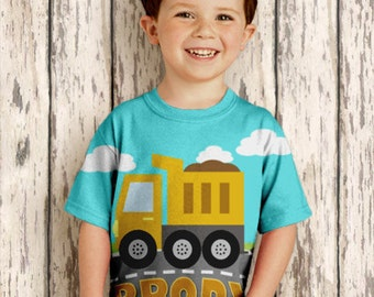 Boys Dump Truck Shirt, Personalized Construction Birthday T-Shirt