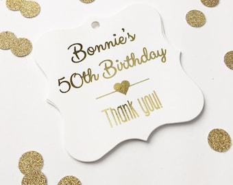 Birthday Favor Tags, Foiled Lettering Custom Birthday Favor Tags, Custom Hang Tags  (FS-038-F)