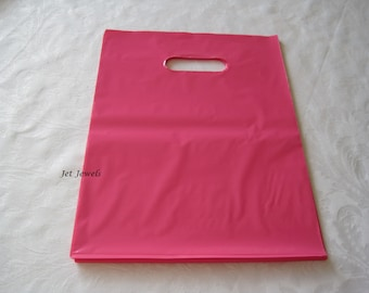 50 Pink Bags, Plastic Bags, Hot Pink Bags, Glossy Bags, Gift Bags, Merchandise Bags, Retail Bags, Party Favor Bags, Bags with Handles 9x12