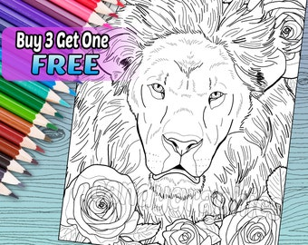 Lovely Lion - Adult Coloring Book Page - Printable Instant Download