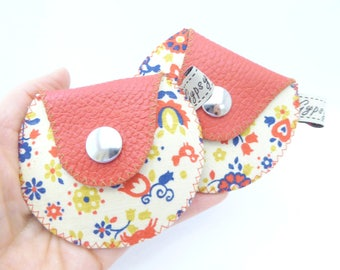 Ready to Ship Leather Coin Purse / The Mini Gypsy Change Purse / Red Leather and Vintage Linen Fabric / Only TWO / Leather Change Purse