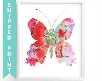PRINT Pink Butterfly print, Hot Air Balloons Wall art, Kids Room Art, Nursery decor, Butterfly art, Girl Nursery