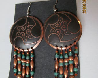 Copper, beaded, dangle, earrings